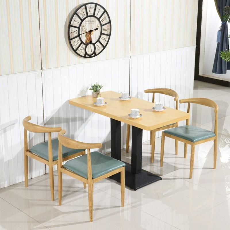 铁艺牛角椅仿实木快餐桌椅简约清新甜品奶茶小吃饭店咖啡厅组合