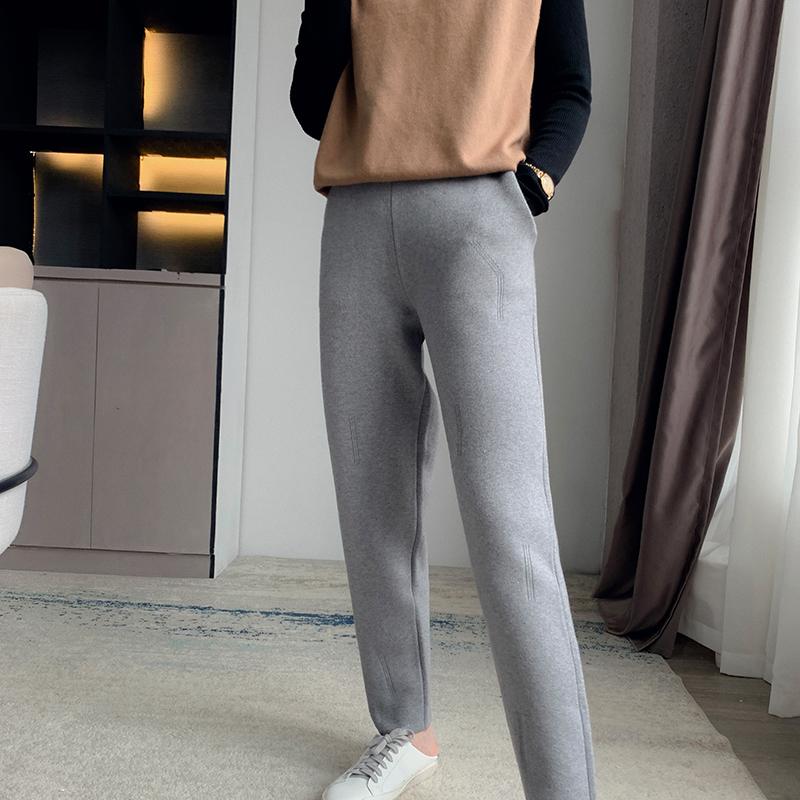 Autumn and winter new 100% pure wool casual Leggings show thin radish pants high waist Harlan pants sports cashmere pants