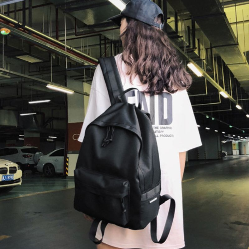 Middle sized simple Street Black Backpack boys japanese