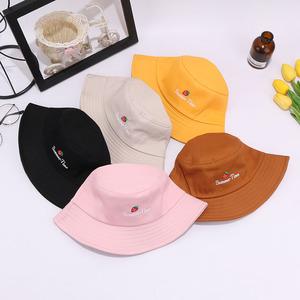 韩版草莓刺绣夏天学生遮阳渔夫帽