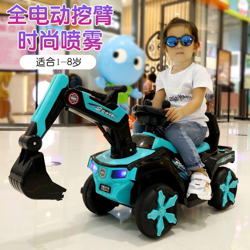 新款儿童电动挖掘机挖土机工程车可坐可骑男孩123岁宝宝大型玩具