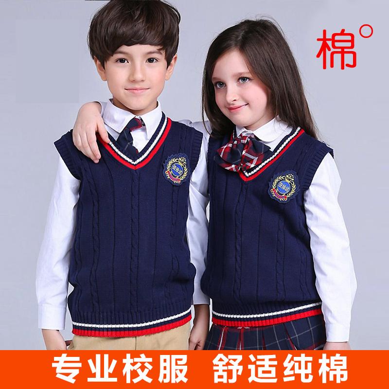 儿童毛线背心男童女童毛衣纯棉针织马甲英伦中小学生校服长袖开衫