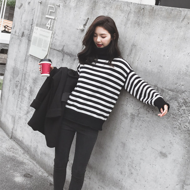 Sweater womens autumn and winter 2019 new Korean loose low crew neck rabbit velvet striped Pullover knitted sweater lazy style