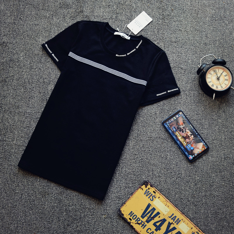 夏季修身短袖男T恤潮流男装帅气社会小伙时尚精神上衣服网红同款