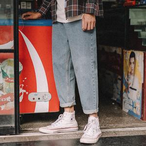 兔先森夏天舒适直筒九分裤牛仔裤