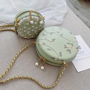 小清新女包包流行2019新款韩版蕾丝绣花小圆包珍珠链条单肩斜挎包