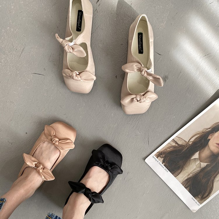 French fairy SATIN BOW FLAT SHOES evening breeze gentle Mary Jane casual ballet shoes spring and autumn single shoes