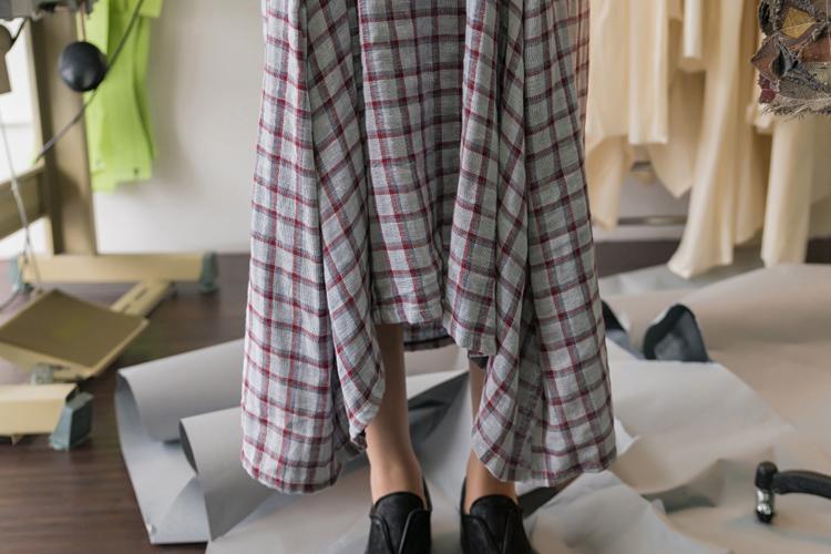 特价/原创设计女装夏新品棉麻蓝白格子文艺直筒宽松棉超长连衣裙