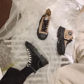 广州鞋不退换圆头松糕底厚底全真P系带百搭复古休闲鞋女鞋