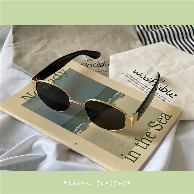 Ins Hong Kong Style European and American oval frame hip-hop retro sunglasses Fashion Sunglasses mens and womens personalized Prince mirror Street Photo