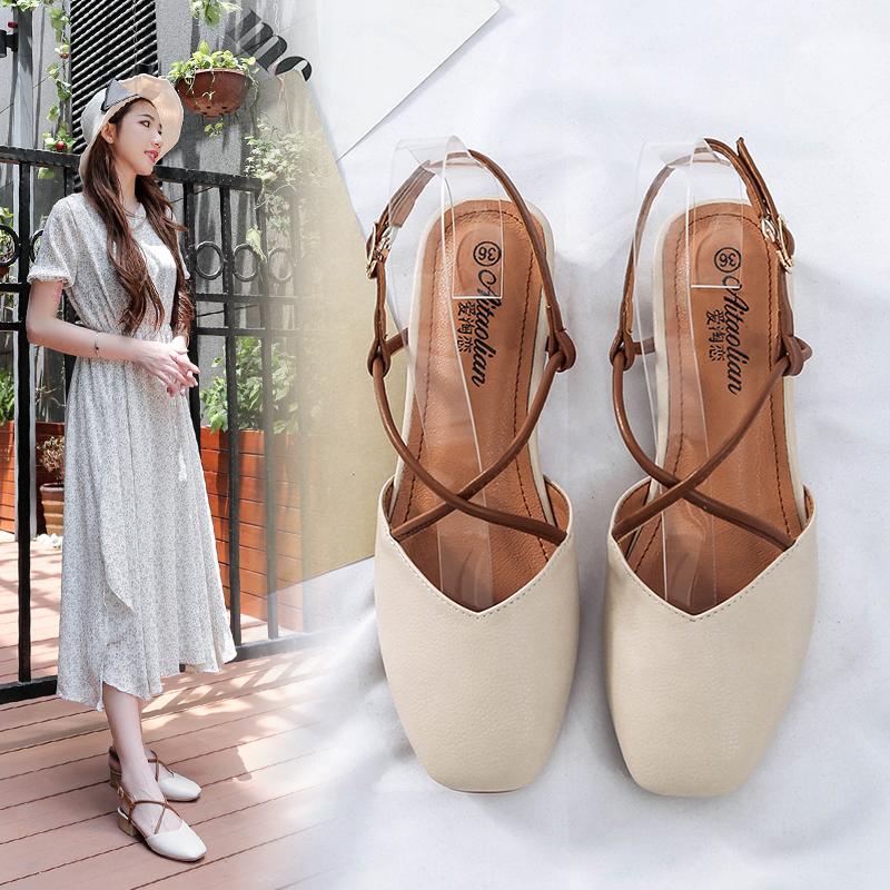 2019春季新款仙女鞋粗跟方头复古单鞋时尚中跟凉鞋韩版百搭奶奶鞋