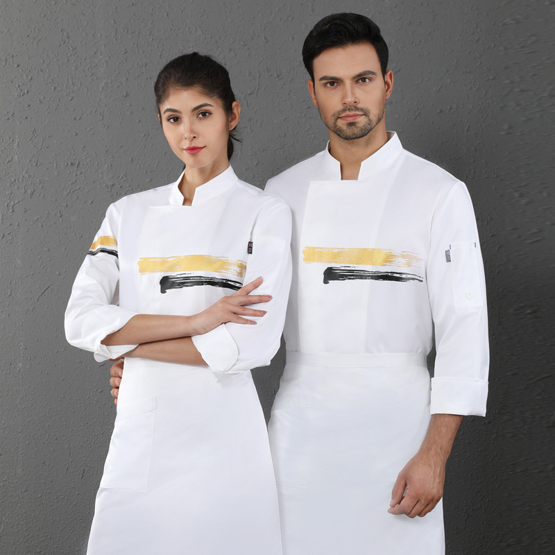Catering industry breathable sweat absorption autumn and winter long sleeve Chef Uniform western restaurant barbecue master uniform kitchen