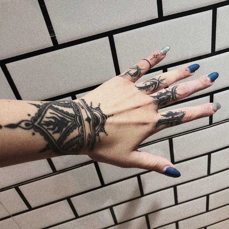12月03日最新优惠【一份2张】纹身贴防水男持久女手背手指仿真刺青黑暗系花手贴纸