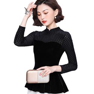 2019設計感小眾時尚氣質荷葉邊遮肚打底衫洋氣高貴收腰上衣女顯瘦