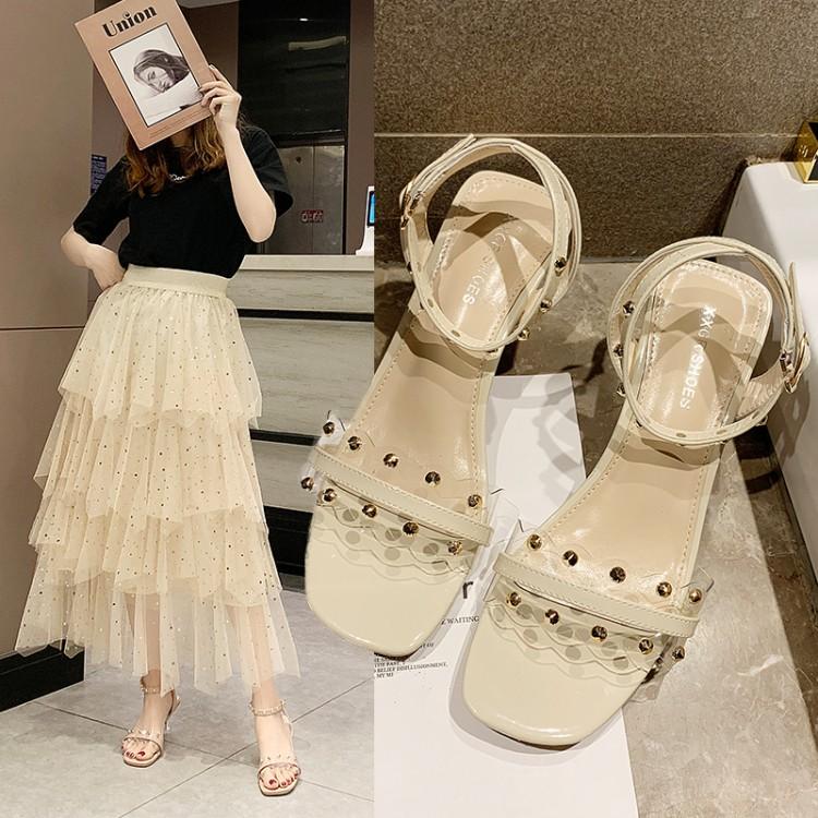 Open toe transparent band rivet sandals womens new Korean versatile high heels with one word buckle