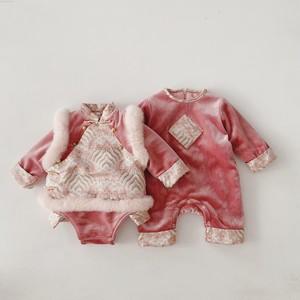 女宝宝冬款加厚拜年服秋冬唐装旗袍马甲婴儿冬季周岁儿童冬装新