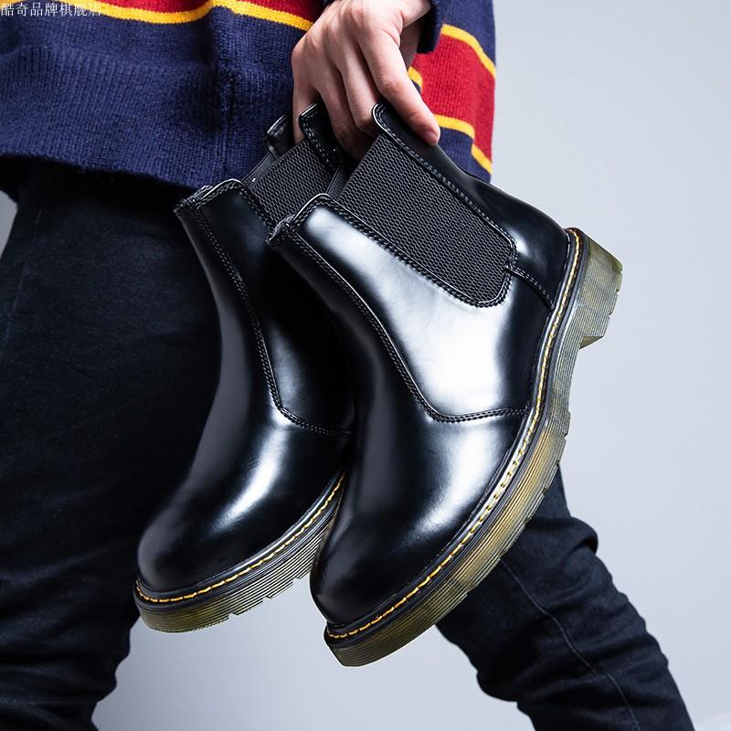 热风旗正品牌真皮男士切尔西靴木森林韩版f2休闲高帮官网短靴子潮
