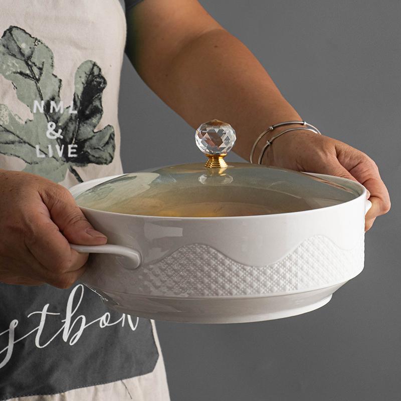 创意北欧家用陶瓷汤碗带盖双耳碗大号大碗泡面碗日式单个汤盆餐具
