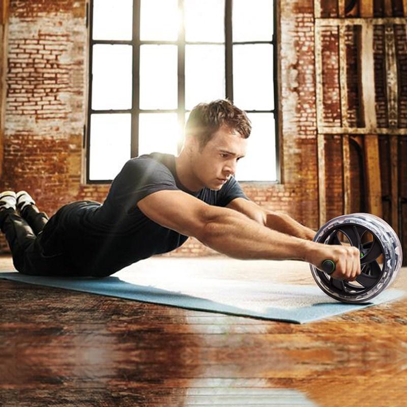 静音健腹轮腹肌卷腹双推轮俯卧撑马甲线健身器家用运动减腹键复仑
