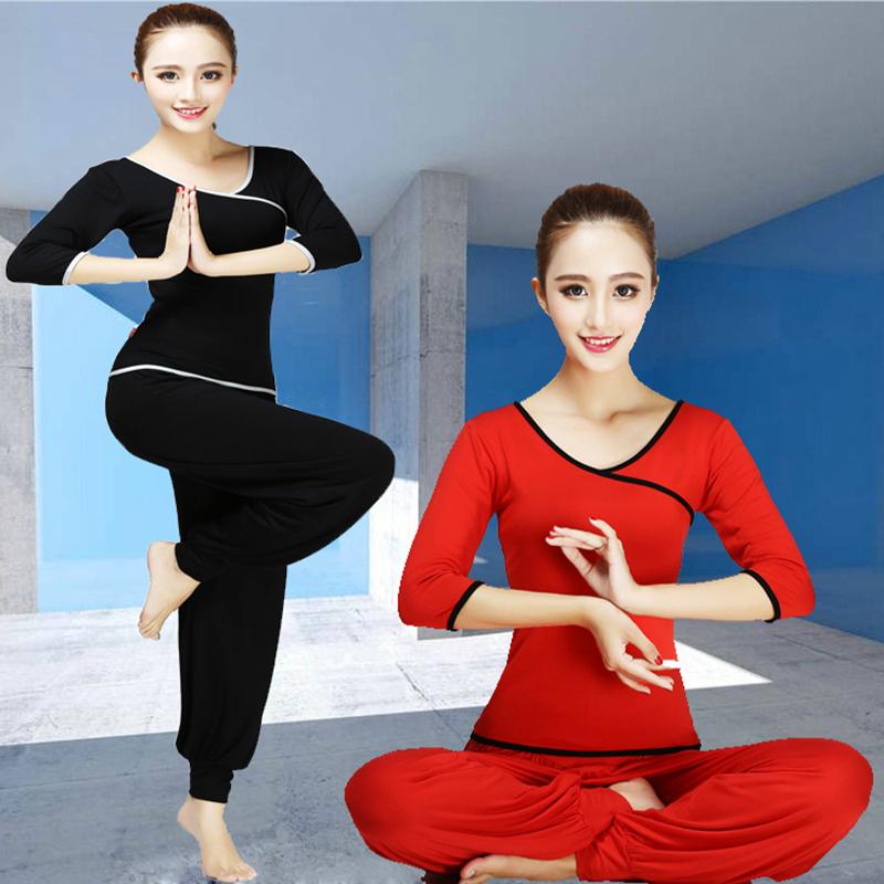 春夏瑜伽服套装女长袖中袖长裤莫代尔女修身舞蹈服运动服健身服
