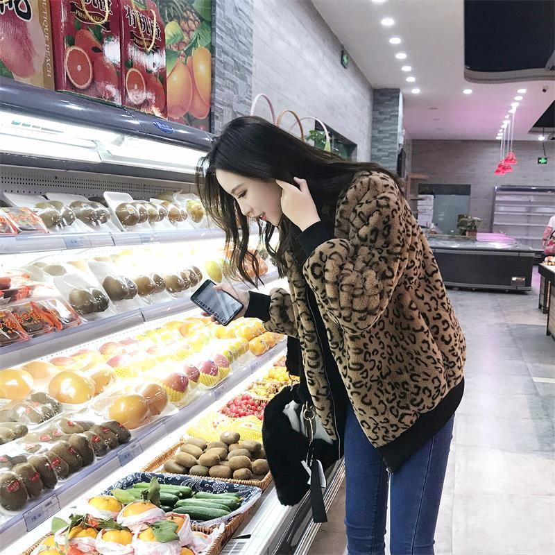 欧洲站时尚女装豹纹皮草中长款秋冬夹克兔毛绒年轻款反季宽松外套