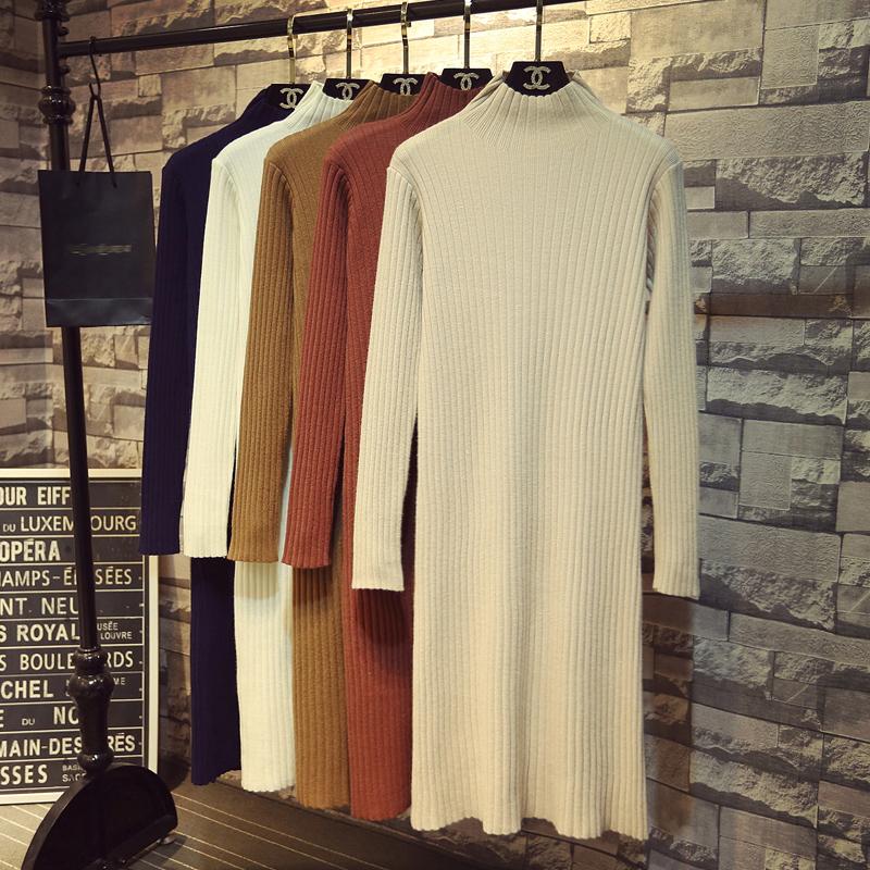 秋冬季新款韩版半高领针织连衣裙女中长款过膝直筒打底衫毛衣裙子