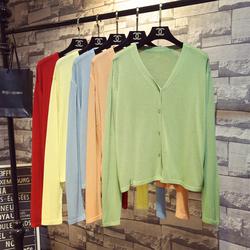 春夏季新款冰丝针织衫女开衫短款外搭披肩薄款空调衫宽松防晒外套