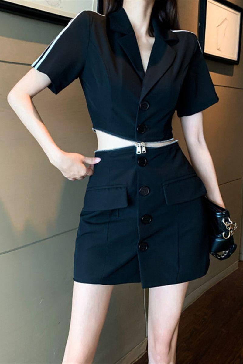 设计感西装连衣裙女夏新款拉链收腰假两件套装显瘦气质高腰短裙子