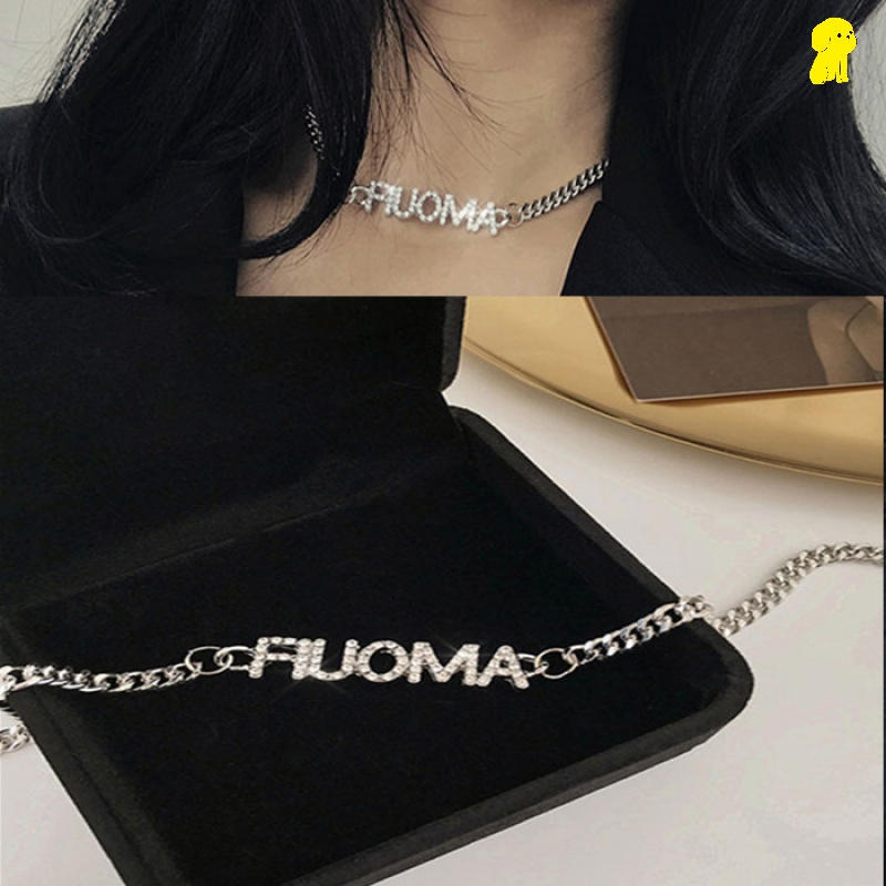 Thick chain necklace Korean casual Street sexy Bling Rhinestone letter collarbone Necklace girl