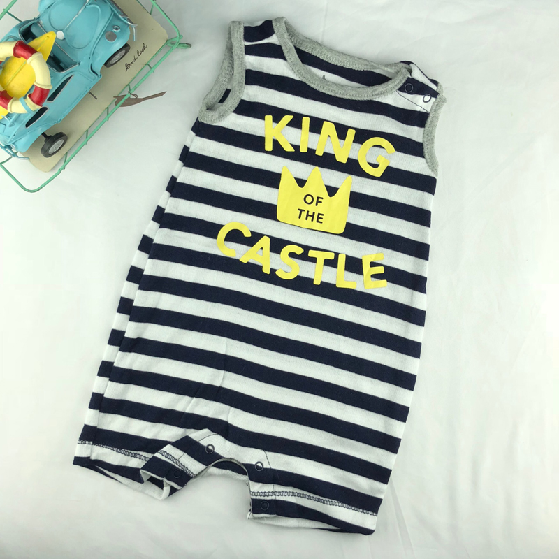 G family boys and girls creeping clothes newborn short sleeve cotton one-piece clothes summer vest baby one-piece clothes King