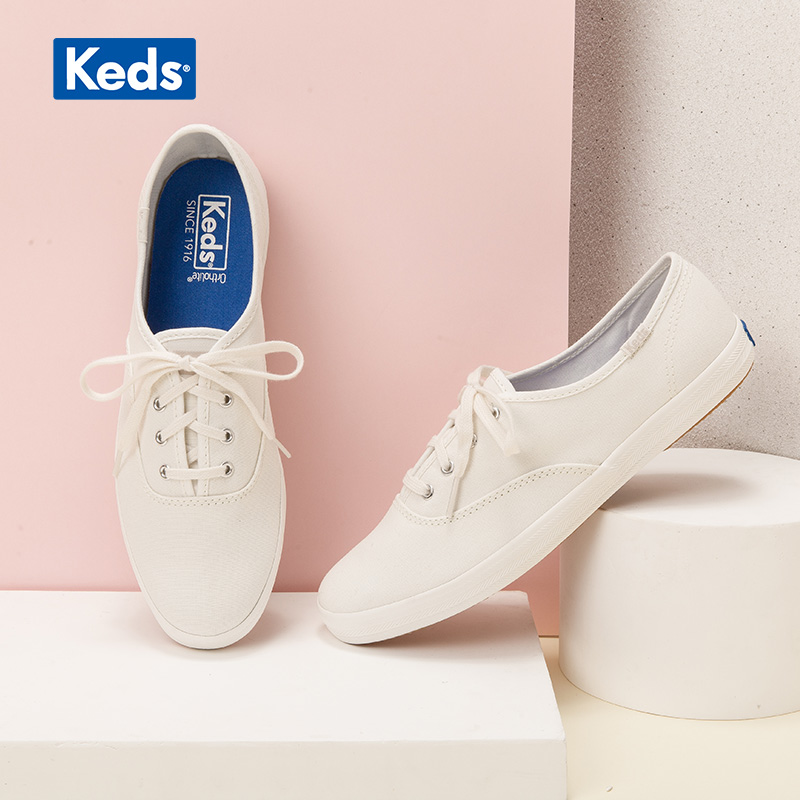 Keds new breathable all-around canvas shoes casual shoes flat sole shoes cream women's white shoes wf54515