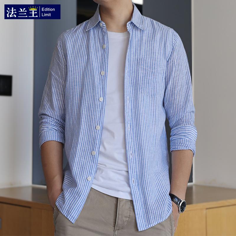 Flannel King summer thin cotton linen shirt mens long sleeve casual shirt slim blue white stripe linen inch shirt