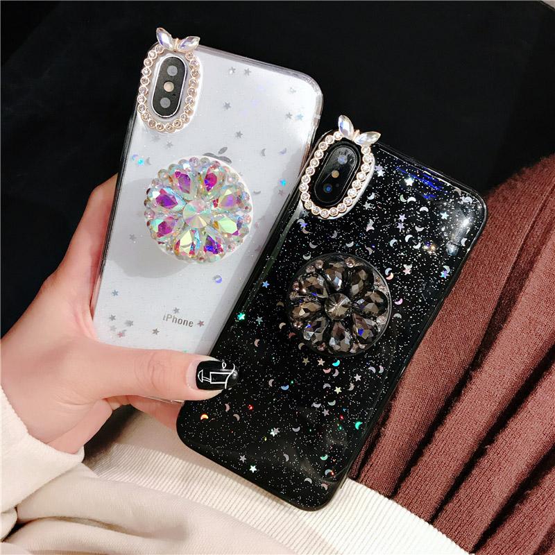 滴胶满天星iPhone XS手机壳苹果8P全包6SP闪粉水钻支架i7防摔软套