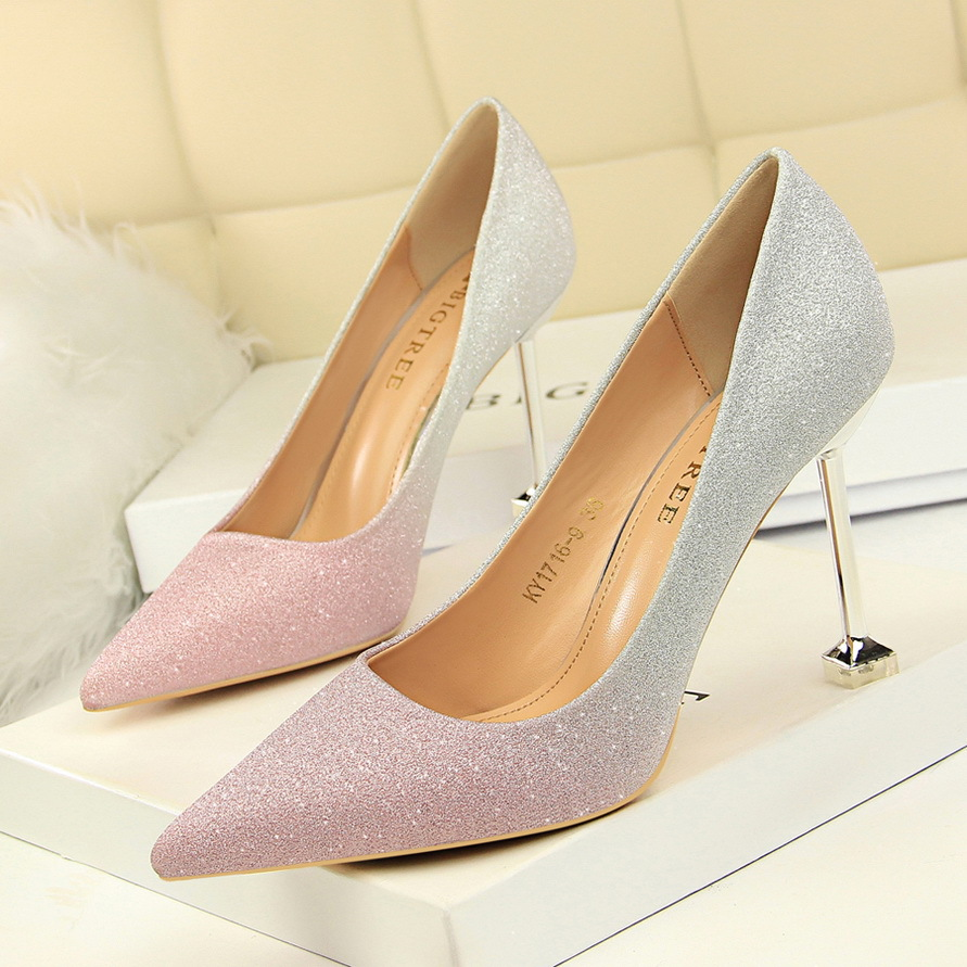 1716-9 Korean fashion thin heel, high heel, light mouth, sharp head, color matching, shiny color, gradual change, sexy and thin womens single shoe