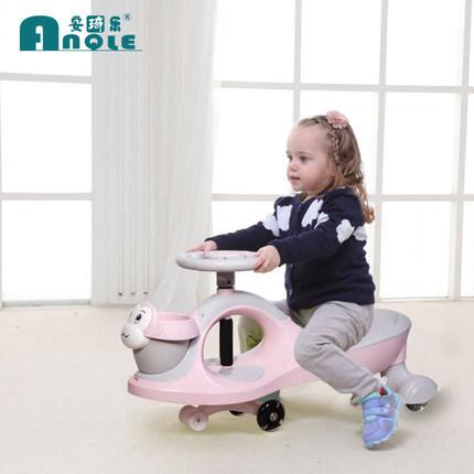 安琦乐新款1-3岁儿童扭扭车静音万向轮音乐玩具摇摆车妞妞溜溜车