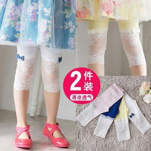 女童七分裤夏季纯棉蕾丝外穿裤子