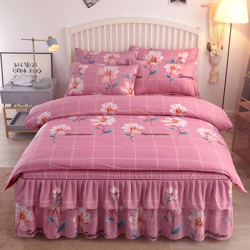 100简约少女心床上四件套全棉床单