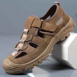 夏季新款男士户外凉鞋休闲运动真皮透气耐磨防滑包头沙滩鞋洞洞鞋图片