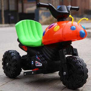 甲壳虫儿童电动车摩托车电动三轮车小孩男女宝宝可坐玩具充电