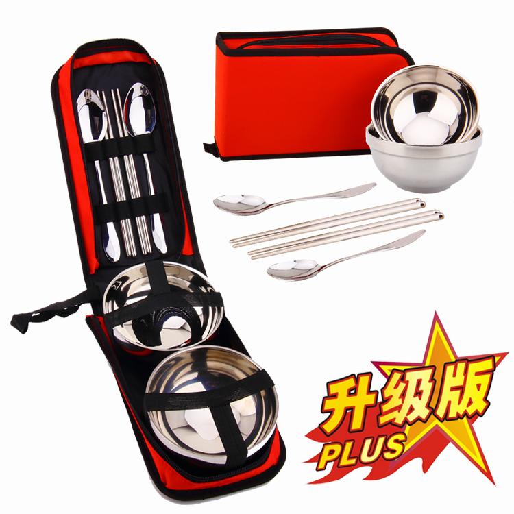 户外餐具包不锈钢餐具碗筷勺单人