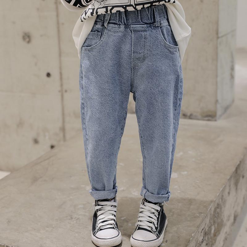 男童韩版宽松牛仔裤2020年春秋款中大童直筒老爹裤儿童浅色长裤子
