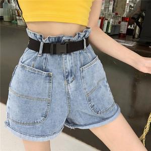 實拍 2019新款高腰顯瘦大口袋水洗牛仔褲百搭闊腿短褲女裝