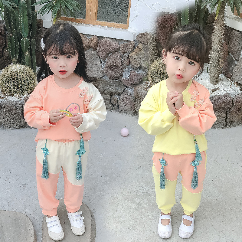 Spring 1 autumn childrens clothing 2-3 girls 4 childrens 5-year-old fashionable two-piece suit