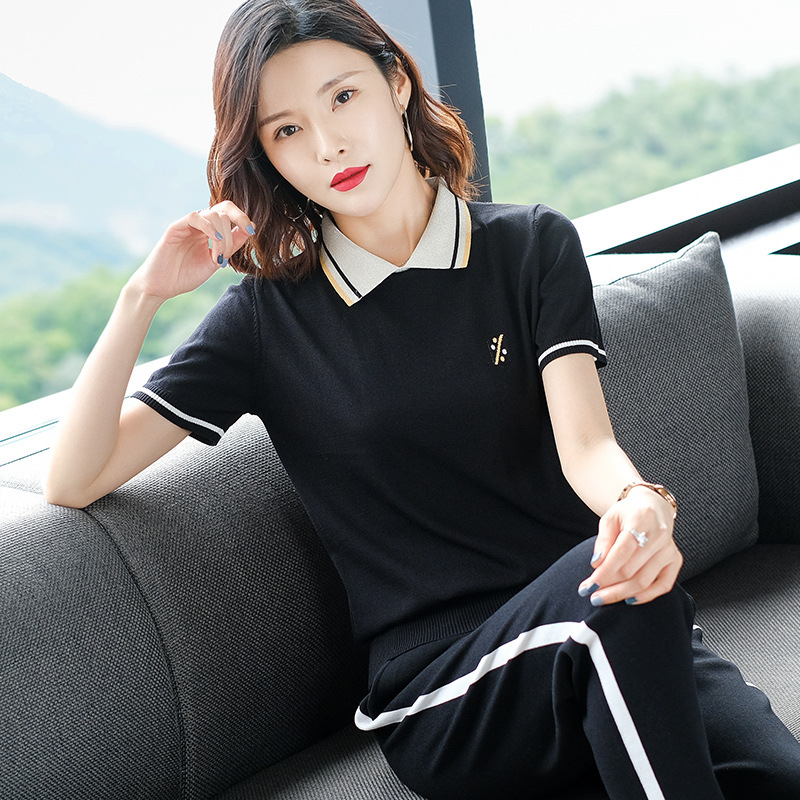 Short sleeve T-shirt + casual pants two piece womens Lapel stripe slim age reducing ice hemp knitted sports suit summer thin