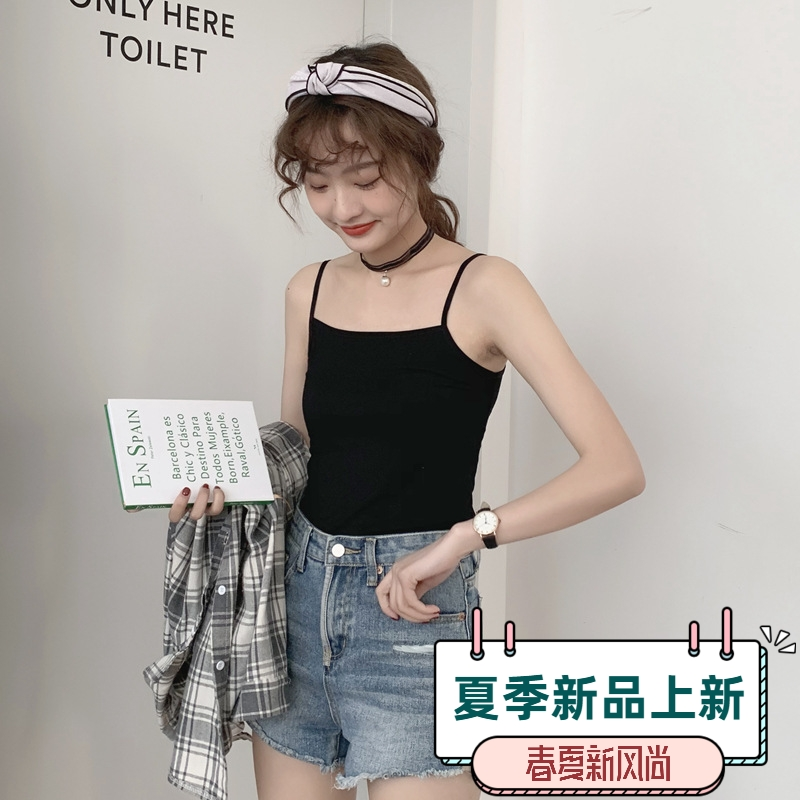 In the summer of 2020, womens suspender waistcoat is loose and trendy, with short open back and high elasticity, wearing suspender top and bottoming and bra