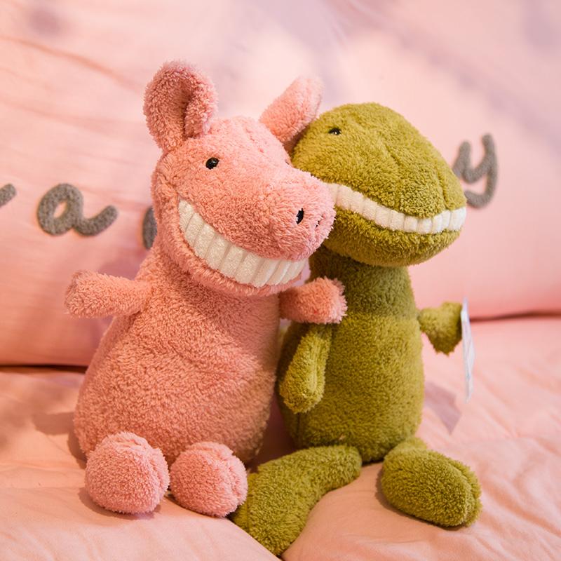 毛绒玩具可爱超丑萌女孩睡觉抱微笑大牙猪小娃娃公仔床上恐龙玩偶