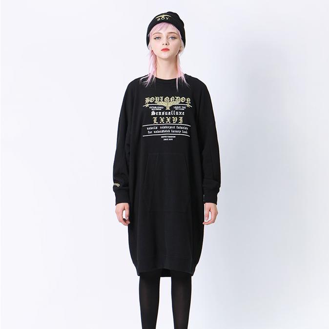 韩国代购正品 BOY KOREA 黑色中长款卫衣宽松连衣裙女