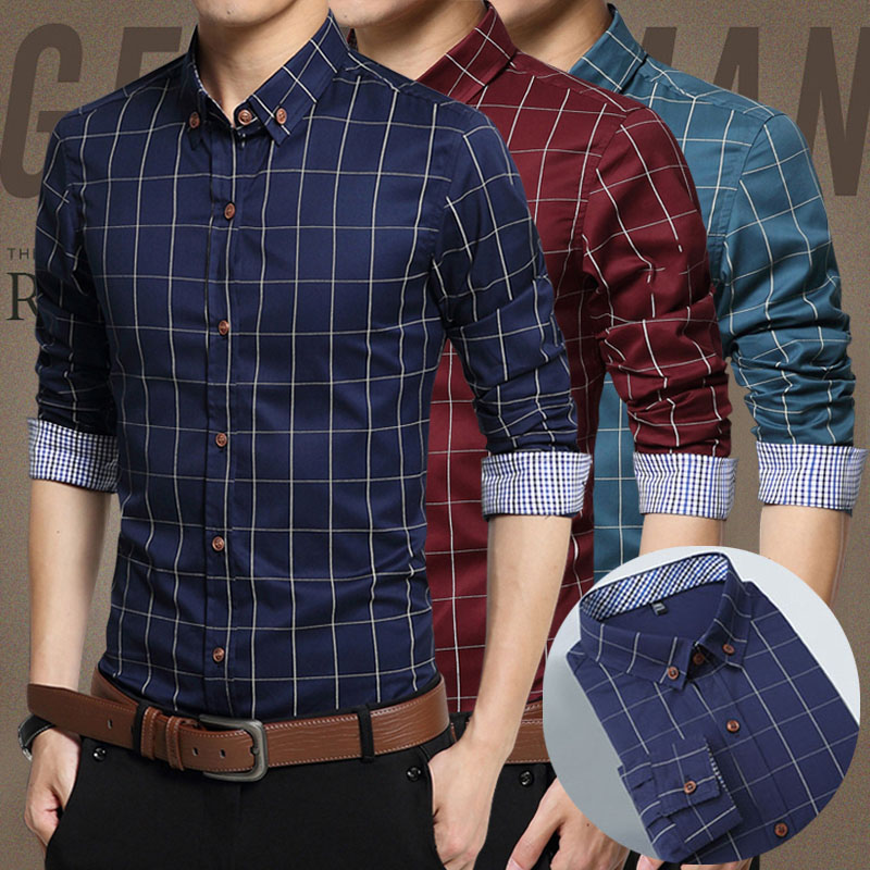 Spring casual shirt mens long sleeve thin style trend slim handsome Korean spring and autumn youth shirt mens name shirt