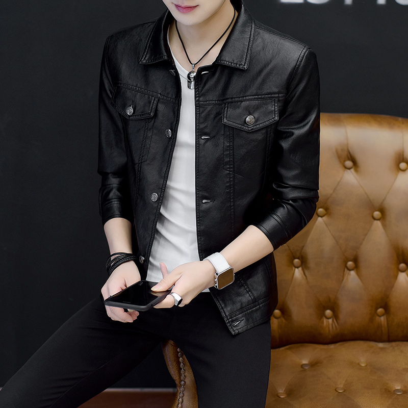 2018 new spring thin mens leather clothes slim fit Korean handsome mens leather jacket mens PU coat trend