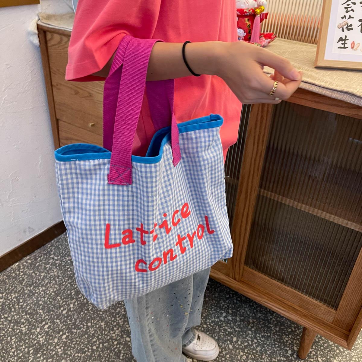 少女心糖果色春秋字母手提帆布包格子彩色大容量单肩购物袋托特女